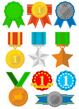 Medals and awards icons set. Gold, silver, bronze. Royalty Free Stock Photo