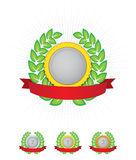 Medals - Awards set. This is a collection of 3 medals, gold, silver, bronze and a bigger empty or blank badge in which you can place your reward or something. On vector illustration