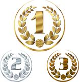 Medals - awards set with laurels in a circle vector illustration