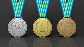 Medals on black background. 3d rendering of winner medals on black background Stock Photo