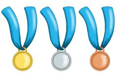 Medals with blue ribbon Royalty Free Stock Photography