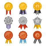 Medals collection with ribbons isolated set. Golden, silver and bronze medals with ribbons collection isolated on white background. First, second and third place Stock Photo
