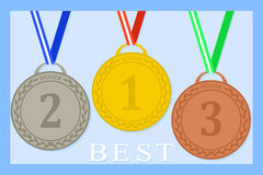 Medals. Flat icon of medals with ribbons 1, 2, 3 places Stock Image