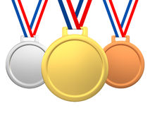 Medals, gold, silver and bronze Stock Photography