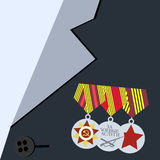 Medals for The Great Victory on the front of veteran Stock Photography