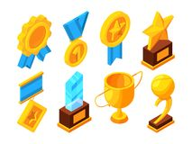 Medals of honor and different sport trophies. Isometric vector illustrations. Medal for reward, victory and honor, trophy prize for winner Stock Image