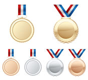 Medals. Illustration of a gold, silver and bronze medal Royalty Free Stock Image