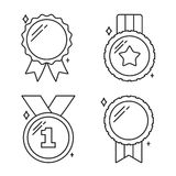 Medals Line Icons. Set of four medals line icons Stock Photos