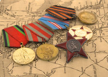 Medals on the map. Second World War medals on the map Stock Photography
