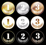 Medals with numbers 1, 2 and 3. Isolated on black background, eps 10 with transparency Royalty Free Stock Images