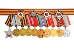 Medals and orders of Great Patriotic war with Saint George ribbon Royalty Free Stock Photos
