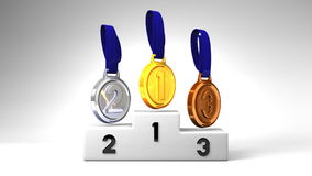 Medals And Podium On White Background stock video