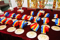 Medals prizes for the Balkan Exotic Birds. Trophies and medals at Balkan Exotic Birds Exhibition in Bucharest, 2-4 december 2011 (GRAN Balkans Cup Competition Royalty Free Stock Images