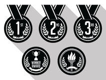 Medals with Ribbon. Flat. Set of Gold, Silver and Bronze Medals. Black and White. Stock Photography
