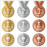 Medals with Ribbon. Flat. Set of Gold, Silver and Bronze Medals. Royalty Free Stock Images