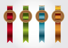 Medals with ribbon. And labels Royalty Free Stock Photo