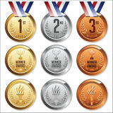 Medals with Ribbon. Set of Gold, Silver and Bronze Medals. Stock Image