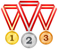 Medals on ribbons Royalty Free Stock Image