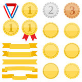 Medals and Ribbons. Set of different medals and ribbons on white background, flat design Royalty Free Stock Photo