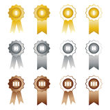 Medals with ribbons on white background first. Second and third place vector set Stock Photo