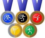 Medals and Rings. (Olympic Themed Royalty Free Stock Image