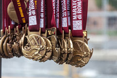 Medals of the Rome Marathon Stock Image