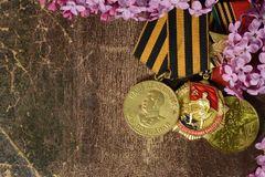 Medals after the Second World War in lilac flowers Stock Images