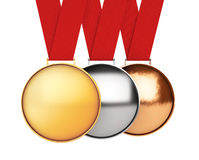 Medals Set. Gold, Silver and Bronze Medal. 3d Rendering Stock Images