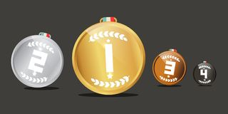 Medals Set. Vector Awards Symbols. Medals Set. Vector Awards Isolated on Dark Background Royalty Free Illustration