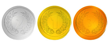 Award medals. Medals silver, gold and bronze Stock Photography