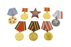 The medals of soviet heroes. Isolated over white background Stock Photo