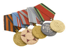 The medals of soviet heroes. Isolated over white background Stock Photos