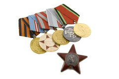 The medals of soviet heroes. Isolated over white background Royalty Free Stock Photo