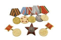 The medals of soviet heroes. Isolated over white background Royalty Free Stock Photos