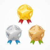 Medals with Stars Set. Vector Stock Photography