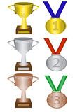 Medals and trophies. For first, second and third place Stock Photos