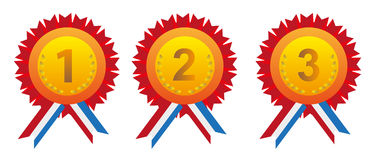 Medals. Vector illustration of medals to first, second and third place Royalty Free Stock Image
