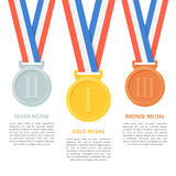 Medals vector set on white background. Royalty Free Stock Photos