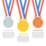 Medals vector set on white background. Poster or infographic with gold, silver and bronze medals. Award medals on ribbons for the first, second and third Royalty Free Stock Image