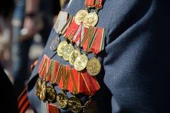 Medals veteran. Photo medals veteran of World War II close-up Royalty Free Stock Photo