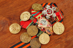Medals for the victory over Germany in the Great Patriotic War of 1941-1945 and George's Ribbon. horizontal shot Royalty Free Stock Photography