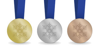 Medals for Winter Games. My own Medals for Winter Games with snow motion Royalty Free Stock Images