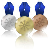 Medals for Winter Games Royalty Free Stock Photography