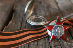 Medals world war great composition. Awards of Merit in World War II by the Soviet Union on a vintage wooden background Stock Photography