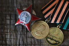 Medals world war great composition. Old military awards to participants of military operations during the Second World War Stock Photography