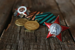 Medals world war great composition. Old military awards to participants of military operations during the Second World War Royalty Free Stock Images