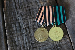 Medals world war great composition. Old military awards to participants of military operations during the Second World War Stock Photo