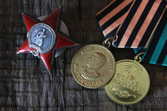 Medals world war great composition. Old military awards to participants of military operations during the Second World War Royalty Free Stock Photography