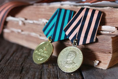 Medals WWII composition. Awards of Merit in World War II by the Soviet Union on a vintage wooden background Stock Photography