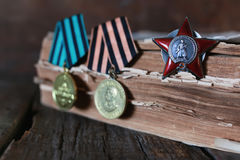 Medals WWII composition. Old military awards to participants of military operations during the Second World War Royalty Free Stock Photo